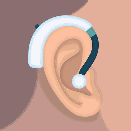 ilustración de oído y audífonos