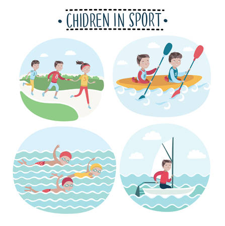 pool player: Set of vector illustrations scene of children play sports