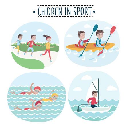 Set van vector illustraties toneel van kinderen spelen sport