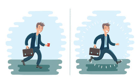 exhausted: Vector illustration of cartoon cheerful man and exhausted man