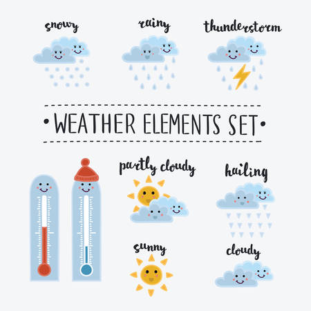 meteorology: Collection of cartoon and funny smiley weather icons. Vector illustration in cute style. Different kinds of weather. lettering name in English