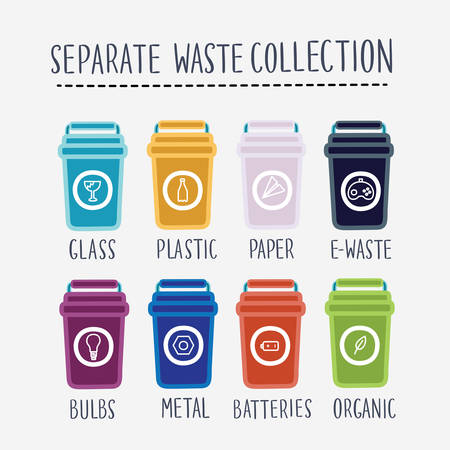 Vector set of illustration of separate waste collection. Colored garbage bin.Groups of containers paper plastic battery metal glass organic paper. Segregation recycle garbage