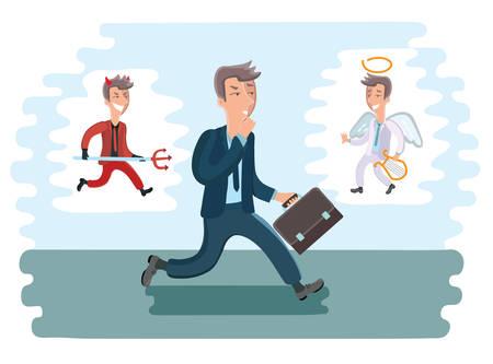 morals: Vector illustration of walking cartoon businessman. Devil and angel from differenct sides of him Illustration