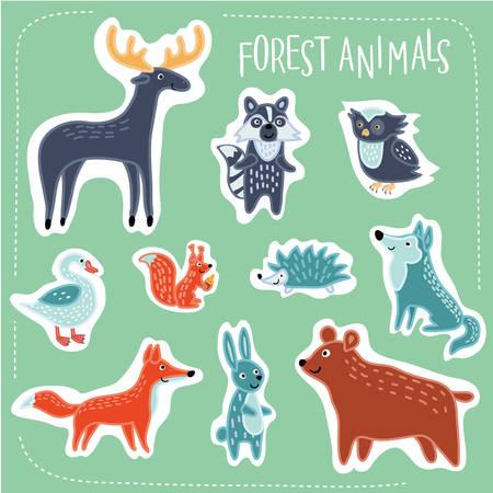 Vector illustration of Forest funny cartoon animals set Illustration