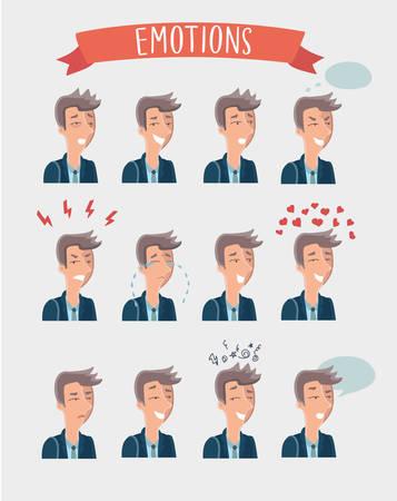 sarcastic: Vector set illustration of handsome cartoon man emotions portraits
