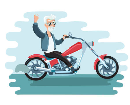 Vector illustration of old cartoon biker ride ahe motorcycle