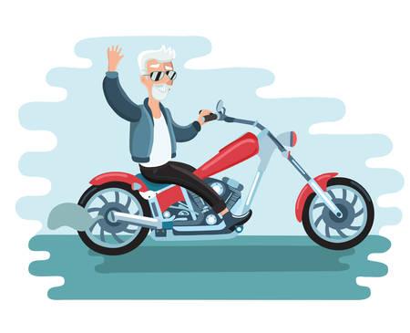 happy man cartoon: Vector illustration of old cartoon biker ride ahe motorcycle