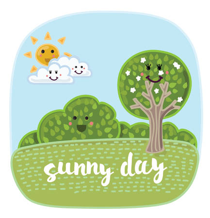 kiddish: Vector illustration of cartoon cute summertime landscape with funny nature elements with smiling faces.