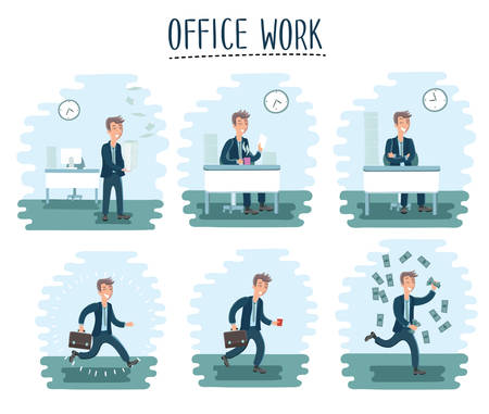moods: Vector illustration of cartoon office worker man character in cycle of office work set. Worker in different moods
