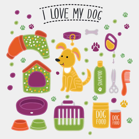 doings: Vector illustration set of accessories for dog