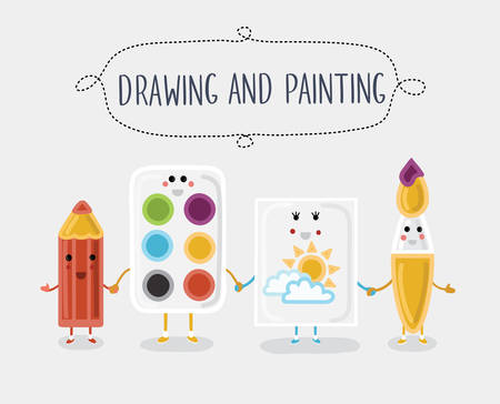 pensil: Vector illustration of drawing and painting materials. Cartoon characters with smiling faces