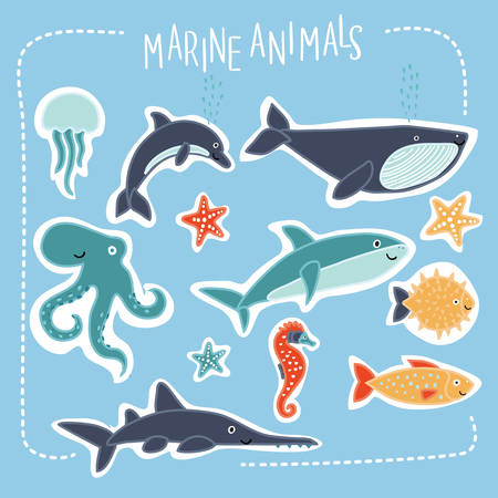sea saw: Vector set of illustration of cartoon funny cute sea creatures with smiling muzzle