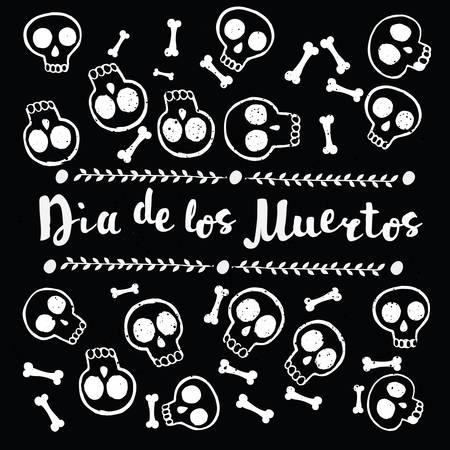 Vector pattern of skull cute pattern, Mexican day of the dead, lettering. Dia de los Muertos