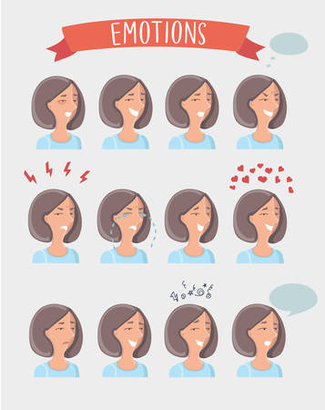 pms: Isolated set of illustration of female avatar expressions