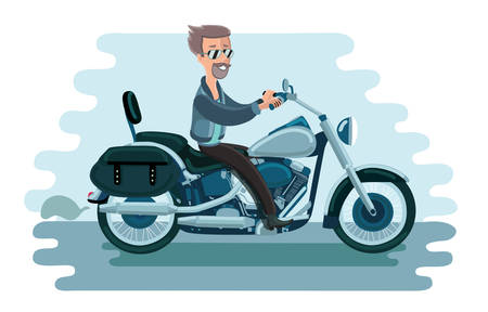 biker: Vector illustration of man riding old school american motorcycle