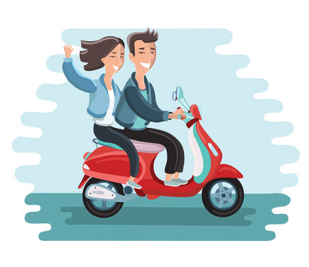 girl bike: Vector illustration of happy couple on a moped. Girl waving