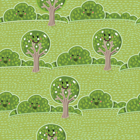 su: Vector seamless su landscape pattern with cute smiling trees and bushes Illustration
