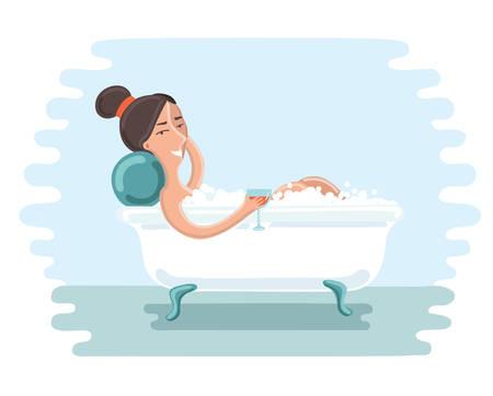 take a bath: Vector illustration of cute girl take a bath