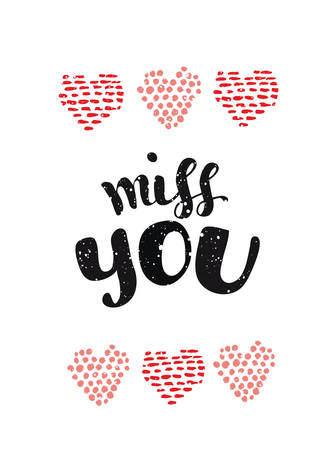 miss: miss you card. illustration and hearts in ink