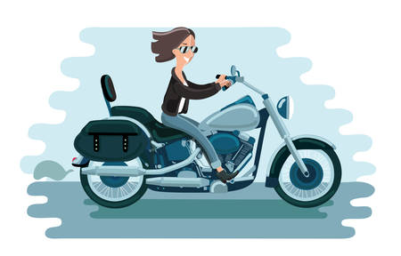Motorcycle riding of driver woman concept Illustration