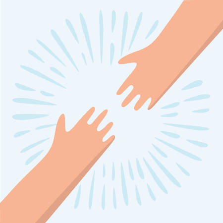 openness: cartoon illustration of two hands. Helping hand to a friend
