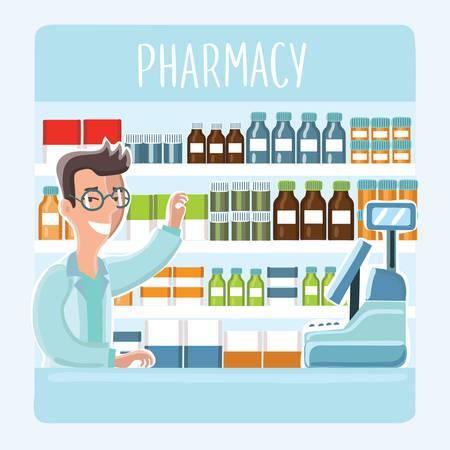 薬棚の背景に薬局でカウンターの後ろに眼鏡の漫画薬剤師のイラスト  イラスト・ベクター素材