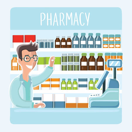 illustration of cartoon pharmacist in glasses behind counter at pharmacy on background of shelves with medications
