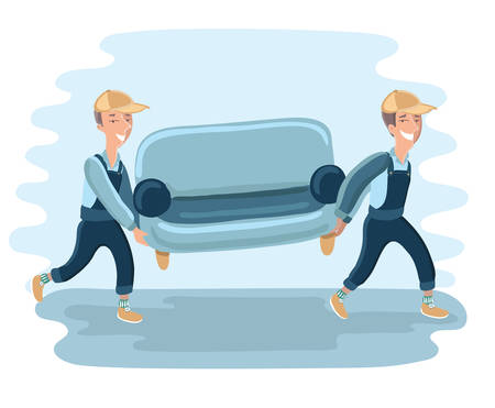 carry on: Funny Delivery character man movers carry sofa. detailed illustration isolated on white background.