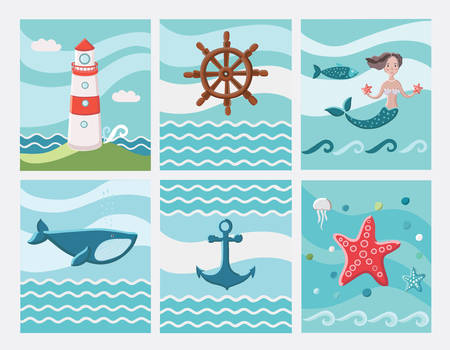 ard: Set of six Nautical color ard Illustration