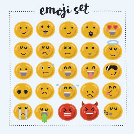Set of Emoticons. Set of Emoji. Isolated illustration on white background