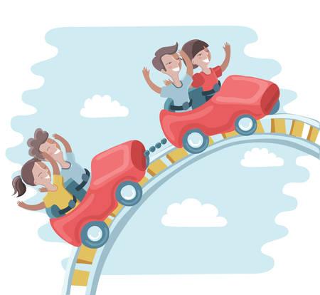 Ilustración del vector de niños divertidos lindos son paseo en una montaña rusa en el parque de atracciones
