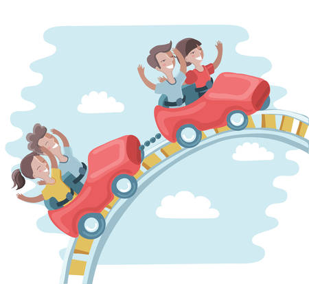 Vector illustration of cute funny kids are ride on a roller coaster in entertainment park