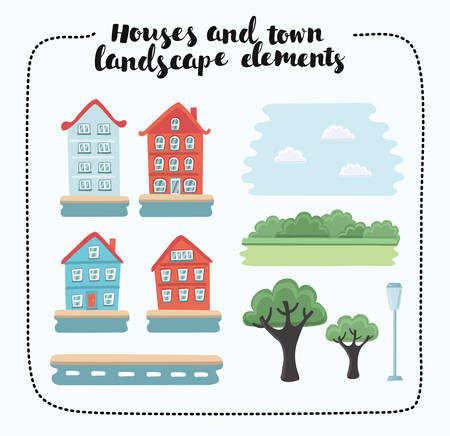 buch: Vector illustration of landscape elements and houses. Set of different kinds objects in the town
