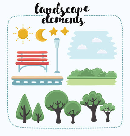 buch: Vector illustration of landscape elements. Set of different kind of objects in the park