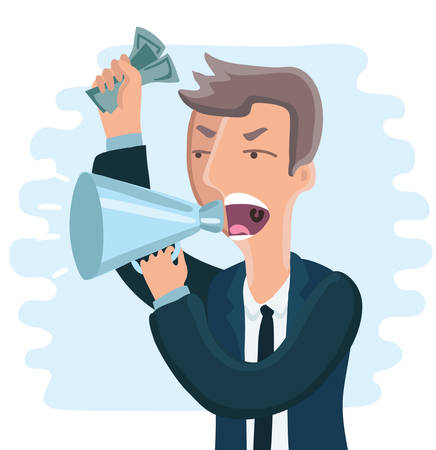 tyrant: Vector cartoon illustration of angry boss. Man shouting in megaphon with money in his hand