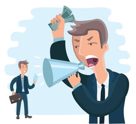 Vector illustration big boss commanding officer into a megaphone. small employee afraid of him.