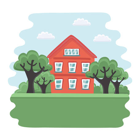 Vector carton illustration of old red house and garden with trees