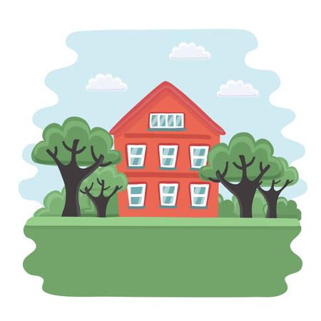 Vector doos illustratie van de oude rode huis en tuin met bomen