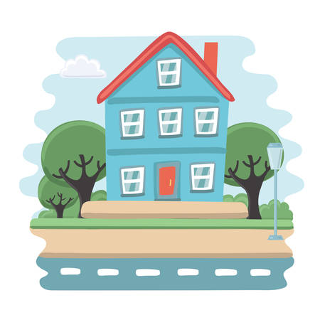 porch: Vector illustration of small blue house. View of porch with tree, sky and road Illustration