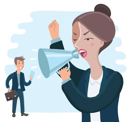 Vector Cartoon businesswoman yelling with a megaphone at her employee