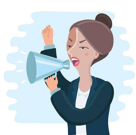 Vector illustration of pretty of angry Business woman yelling through megaphone and shakink her hand Ilustração
