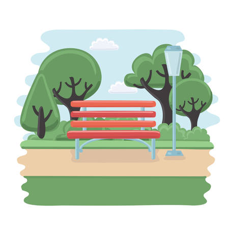 wooden bench: Wector illustration of wooden bench isolated in the park, different trees, bushes and path in the Park on white background