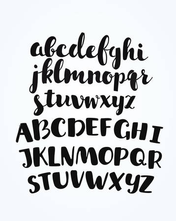 disign: Vector artistic handdrawn font in ink. Uppercase and lowercase latin letters for yout disign, lettering and cards Illustration