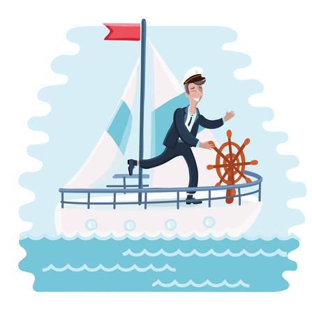 spinning wheel: Vector illustration of cartoon captain spinning wheel