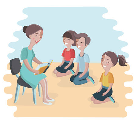 child sitting: Vector cartoon illustration of woman reading a book for child. Boy and girls sitting on they knees and lesson to her