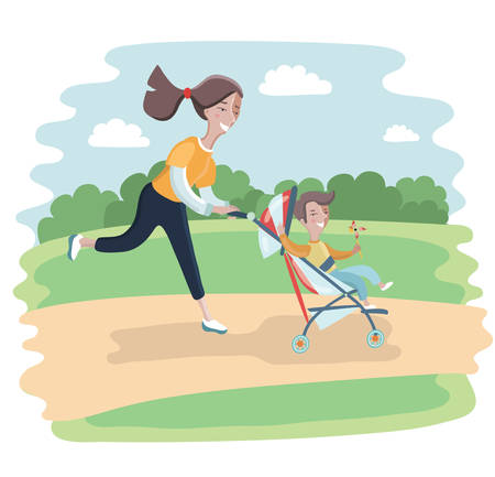 women working out: Vector illustration of cartoon sports woman running with babies in baby strollers.
