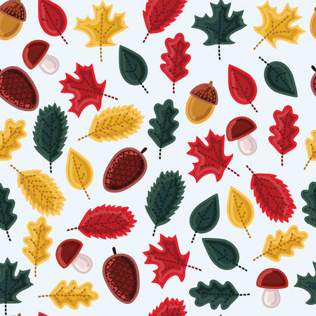 Vector seamless pattern with leaves and mushrooms and acorns