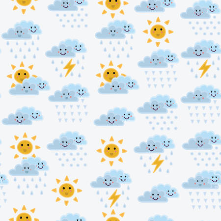 dampness: Weather concept background. Cartoon cloud, sun with smiling. Seamless pattern can be used for wallpapers, pattern fills, web page backgrounds, surface textures.