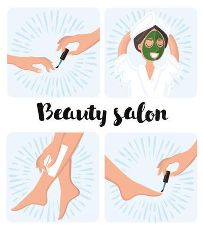 Ilustración del vector de manicura y pedicura proceso, la depilación y la máscara de spa cosmética en la cara de una mujer. Tratamientos de belleza