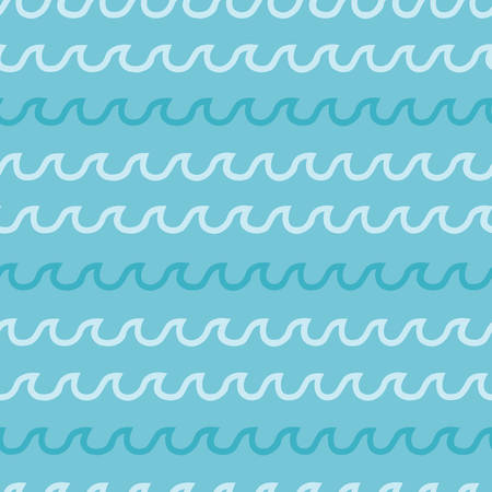 Vector seamless waves of stormy water patterns. Blue oceans, river, sea or lakes background. Illustration